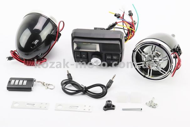 (Китай)  АУДИО-блок с ЖК дисплеем (МРЗ-USB/SD, FM, пультДУ, сигнализация)  + колонки 2шт (хром.)