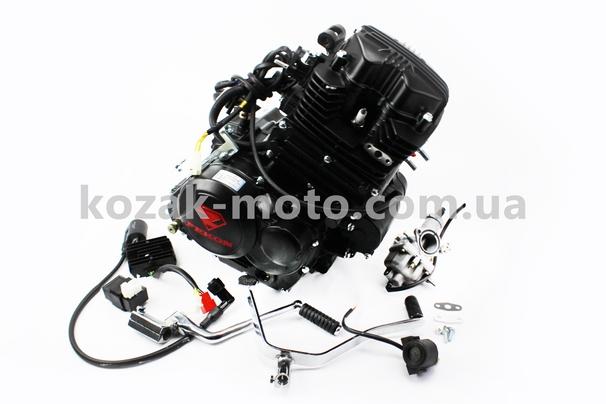 (FEKON)  Двигатель мотоциклетный в сборе CGT-175cc (водяное охлаждение) + карбюратор, коммутатор, катушка зажигания, реле: стартера, напряжения