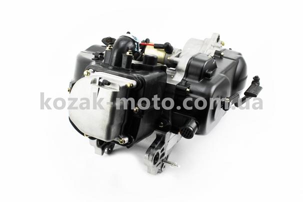 (Китай)  Двигатель скутерный в сборе 4Т-80куб (короткий вариатор, длинный вал)
