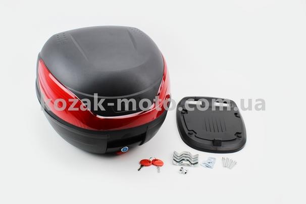 (FXW)  Кофр большой (пластмассовый) 430*410*315мм, крепл. быстросъемное, черный матовый HF-866