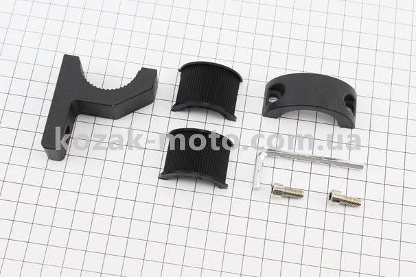 (Китай)  Кріплення на кермо для дзеркал D-11mm (з низьким виносом) ЧОРНИЙ