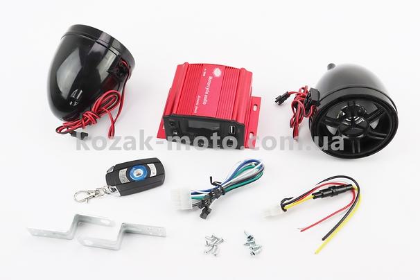 (Китай)  АУДИО-блок с ЖК дисплеем (МРЗ-USB/SD, FM, пультДУ, сигнализация) + колонки 2шт (черные)