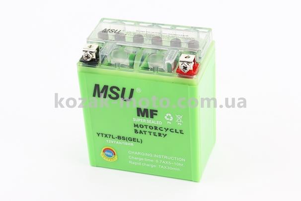 (MSU)  Аккумулятор 7Аh МОТО YTX7L-BS гелевый (L115*W70*H130 mm), 2019