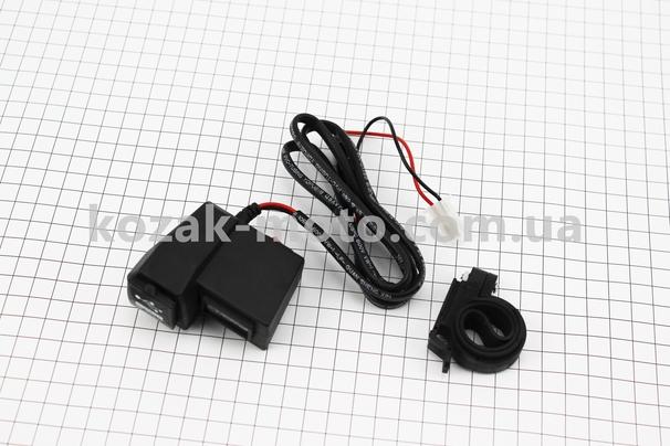 (Китай)  Зарядка USB універсальна на 2 виходи, з кнопкою вкл / викл + ВОЛЬТМЕТР (кріплення на кермо)