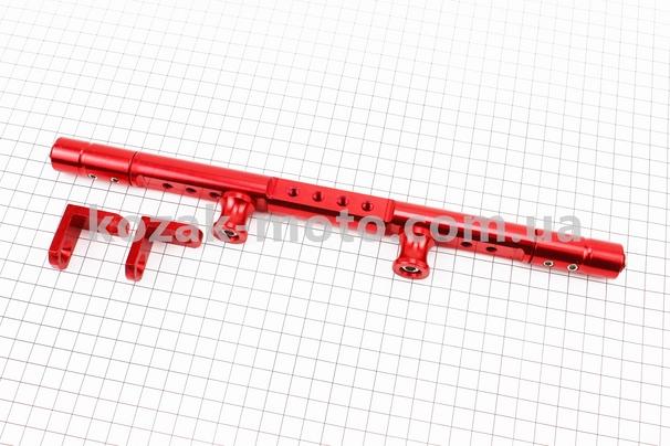(Китай)  Перемичка керма регульована по довжині з отворами під мото аксесуари 345-360мм, ЧЕРВОНИЙ тип 1