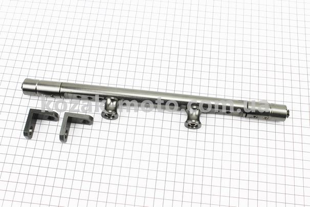 (Китай)  Перемичка керма регульована по довжині з отворами під мото аксесуари 345-360мм, СІРИЙ тип 1
