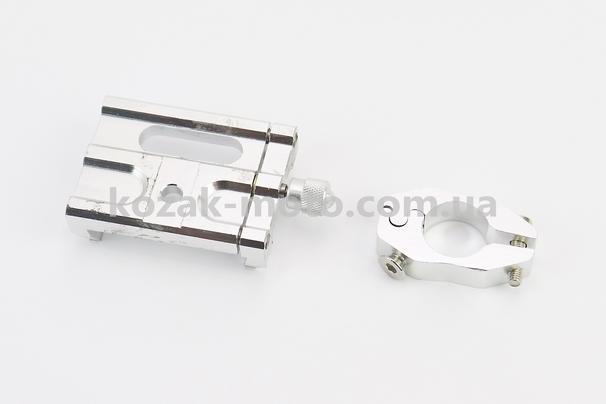 (Китай)  Тримач телефону на кермо металевий (мінім. Ширина телефону 50мм, макс. Ширина 100мм), СІРИЙ