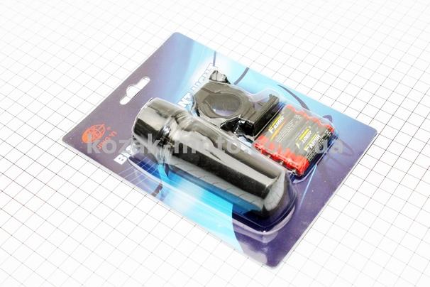 (Китай)  Фонарь передний 1 диод (линза), JY-586-1 (без батареек)
