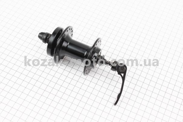 (Китай)  Втулка передняя MTB алюминиевая 14Gx36H под диск. тормоз, 2 пром-подшипники 6200 2RS, крепл. эксцентрик, черная SF-B07F