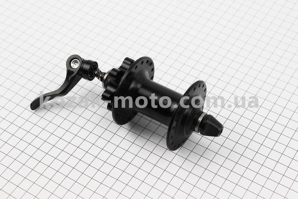 (Китай)  Втулка передняя MTB алюминиевая 14Gx36H под диск. тормоз, 2 пром-подшипники 6200 2RS, крепл. эксцентрик, черная SF-B12F