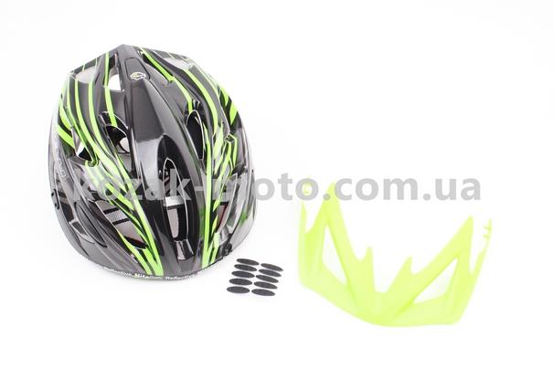 (SPELLI)  Шлем велосипедный M (55-61 см) съемный козырек, 18 вент. отверстия, системы регулировки по размеру Divider и Run System SRS, черно-зеленый SBH-5900