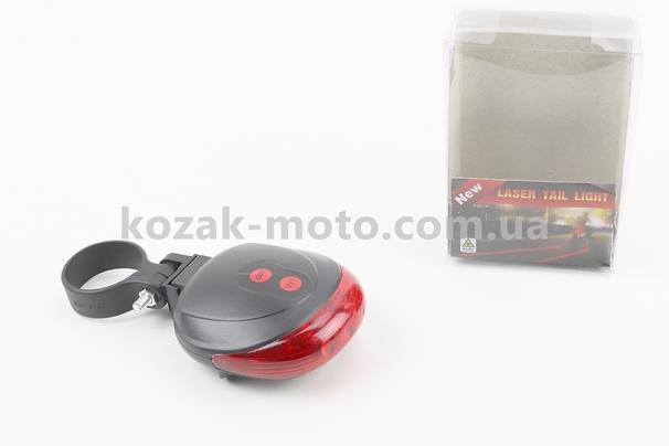 (Китай)  Фонарь задний 5 диодов + 2 лазерных луча, SL-116 (без батареек)