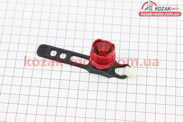 (Китай)  Фонарь задний 1 диод алюминиевый, красний (без батареек)