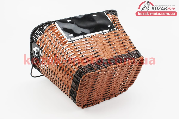 (Китай)  Корзина багажная на руль съемная, коричневая JL-CK101