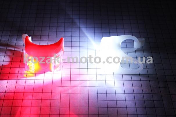 (Китай)  Фонарь передний 2 диода + задний 2 диода силиконовые к-кт, HL-009 (без батареек)