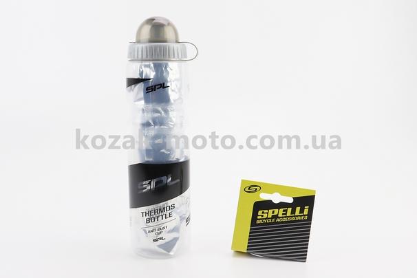 (SPELLI)  Фляга-термо пластиковая 500мл, с защитной крышкой, прозрачно-черная SWB-700