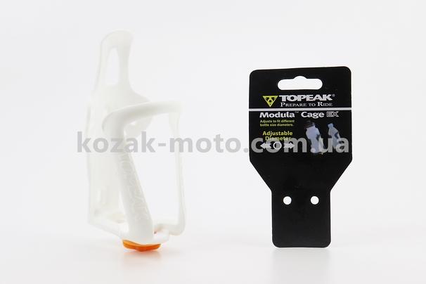 (TOPEAK)  Флягодержатель пластиковый с регулировкой под фляги 51-73мм, крепл. на раму, белый TMD05B