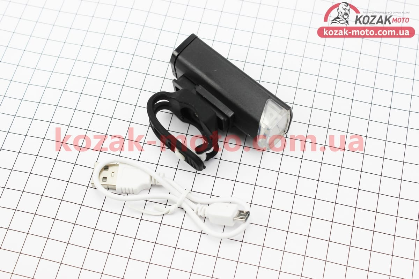 (Китай)  Фонарь передний 1 диод 300 lumen алюминиевый, Li-ion 3.7V 800mAh зарядка от USB, влагозащитный, черный RPL-2255