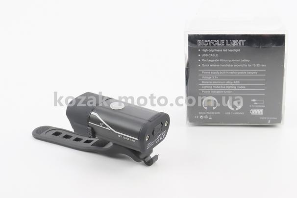 (Китай)  Фонарь передний 1 диод алюминиевый, Li-ion 3.7V 850mAh зарядка от USB, влагозащитный, черный HYD-018