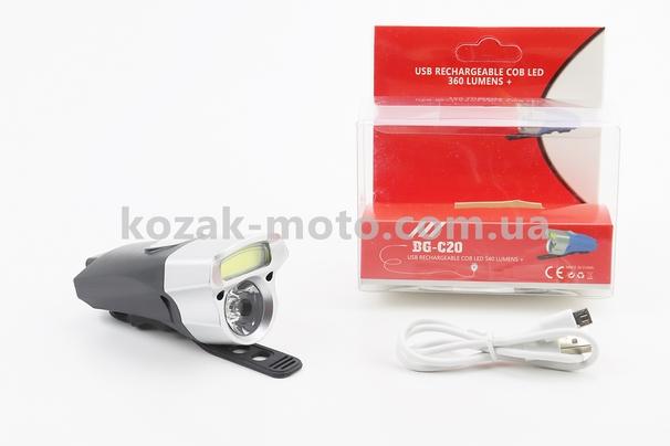 (Китай)  Фонарь передний 1+7 диодов 360 lumen, Li-ion 3.7V 500mAh зарядка от USB, влагозащитный, черно-серый BG-C20