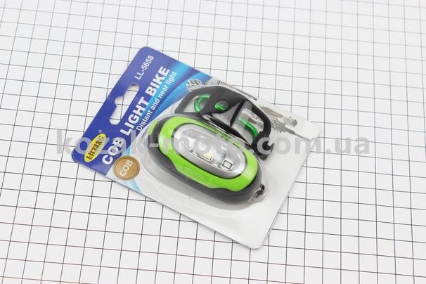 (Китай)  Фонарь универсальный 3 диода, влагозащитный, черно-зеленый LL-5658 (без батареек)