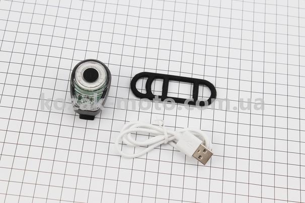 (Китай)  Фонарь задний 100 lumen, алюминиевый, Li-ion 3.7V 500mAh зарядка от USB, влагозащитный, серый BK200