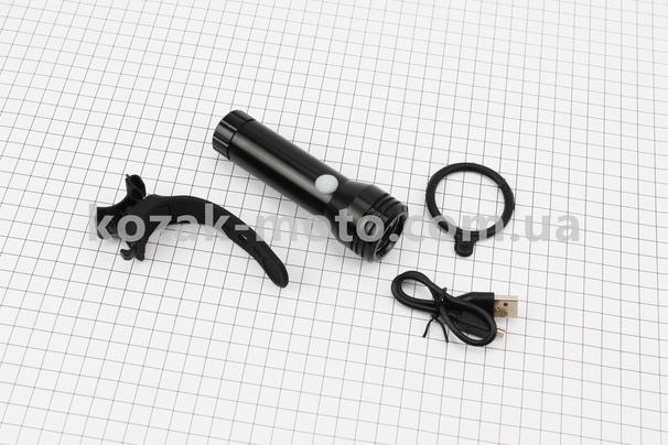 (Китай)  Фонарь передний 1 диод 500 lumen, алюминиевый, Li-ion 3.7V 2400mAh зарядка от USB, влагозащитный, черный JY-7012F-1000