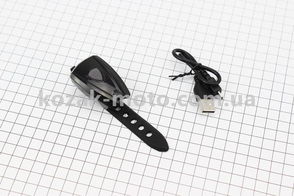 (Китай)  Фонарь передний 2 диодa, Li-ion 3.7V 400mAh зарядка от USB, влагозащитний, черный JY-7044