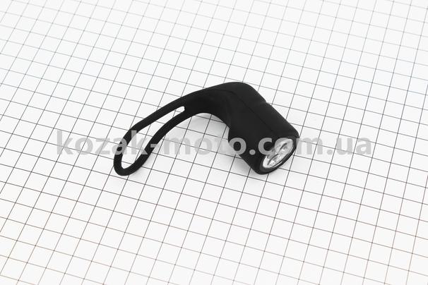 (Китай)  Фонарь передний 3 диода, силиконовый, черный JY-3203F (без батареек)