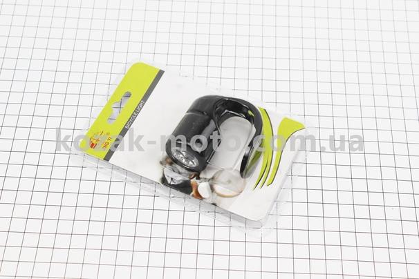 (Китай)  Фонарь задний 3 диода, силиконовый, черный JY-3203T (без батареек)