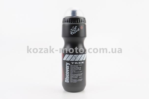 (Китай)  Фляга пластиковая 550мл, с защитной крышкой, черная с рисунком бело-красным