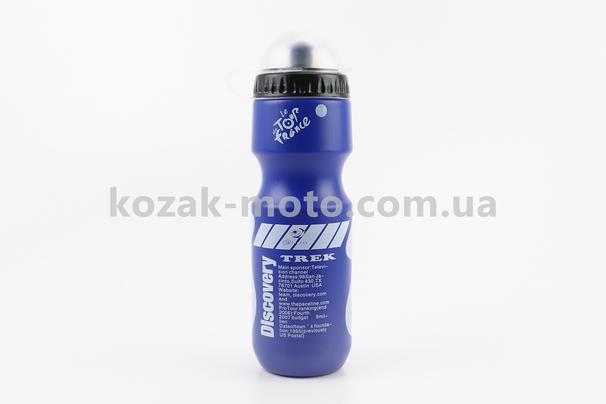(Китай)  Фляга пластиковая 550мл, с защитной крышкой, синяя с рисунком белым