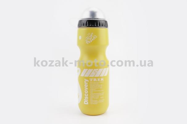 (Китай)  Фляга пластиковая 550мл, с защитной крышкой, желтая с рисунком бело-черным