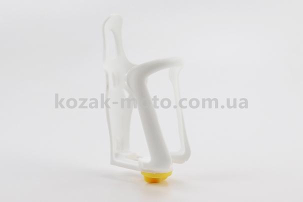 (Китай)  Флягодержатель пластиковый с регулировкой под фляги 51-73мм, крепл. на раму, белый