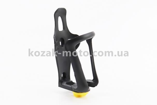(Китай)  Флягодержатель пластиковый с регулировкой под фляги 51-73мм, крепл. на раму, черный