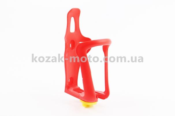 (Китай)  Флягодержатель пластиковый с регулировкой под фляги 51-73мм, крепл. на раму, красный