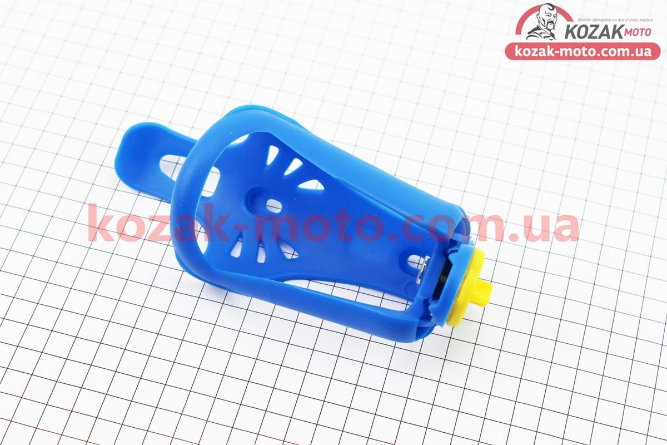 (Китай)  Флягодержатель пластиковый с регулировкой под фляги 51-73мм, крепл. на раму, синий