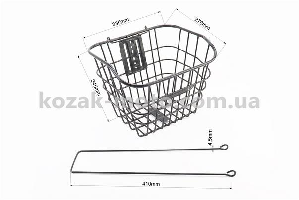 (Китай)  Кошик багажна передня 28 з кришкою, чорна YZ-061
